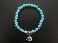 TURQUOISE BRACELET TIBETAN SILVER ELEPHANT CHARM LUCK HAPPINESS DIGNITY GIFT BOX