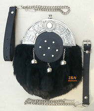 Original Black Rabbit Fur Scottish Kilt Sporran, Free Leather & Metal Belt
