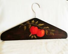 Vintage HANDPAINTED APPLES on a Stained Wooden COAT CLOTHING HANGER made1960's