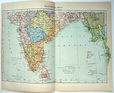 Original Johnson's 1896 Map of Southern India. Antique