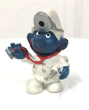 Vintage Smurfs Dr SMURFY Schleich Peyo PVC Toy Figure 1980's Doctor Smurf