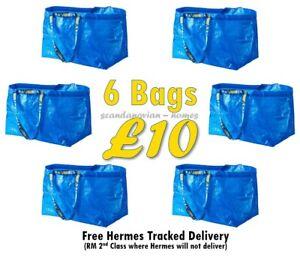 6X IKEA Frakta Blue Large Storage Laundry Moving Gardening Bags 71L set of 6