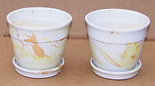 "5 3/4"" WIDE SET OF 2 CERAMIC MARBLE GLAZED MULTI COLORED PLANTER WITH SAUCER YBR"