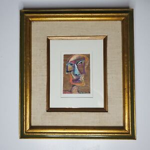 Mary Delave Painting 1993 Face Surreal Cubist Framed Ready To Hang