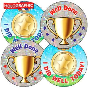 105 Sparkly Mixed Sports Day PE School Children Pupils Reward Stickers 37mm Kids