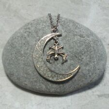 Glow In The Dark Crescent Moon And Bat Pendant Necklace Jewelry