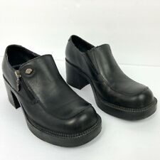Harley Davidson Womens Size 7 Square Toe Black Leather Chunky Heels Outer Zipper