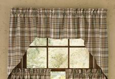Country Thyme Swag Curtains 72WX36L Burgundy Green Tan Ivory Plaid Cotton