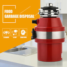 1.0 HP Garbage Disposal Continuous Feed Kitchen Food Waste w/ Plug 2600 RPM Red