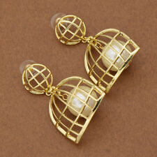 Women Simulation Pearl Birdcage Big Hanging Dangle Ball Earrings Drop for Party