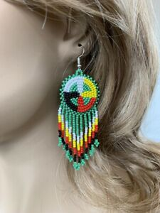 NATIVE STYLE BEADED HANDCRAFTED ETHNIC  GREEN SEED BEADED EARRINGS E60/14