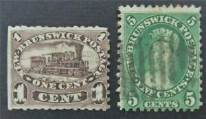 nystamps Canada New Brunswick Stamp # 6.8 Used $70  S17y1680