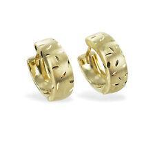 333 Gold Klapp Creolen Kreolen Ohrringe Herren Damen Bicolor teilmatt Gelbgold