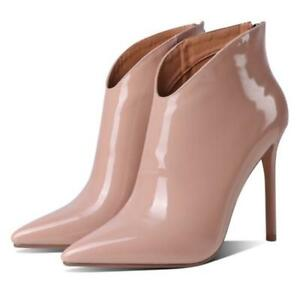 Women's Ankle Boots Pointy Toe Stilettos High Heel Shoes Party Patent Leather L
