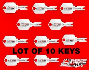 LOT OF 10 KEYS FOR IGNITION SWITCH, FORKLIFTS, YALE, DAEWOO, CLARK, HYSTER, CAT