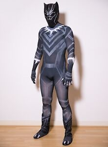 Mens Black Panther Costume with Mask Cosplay Adult Fancy Dress Superhero Outfit