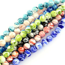 100pcs Colorful Handmade Lampwork Glass Beads Smooth Round Loose Bead Craft 14mm