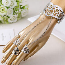 Women Chain Tassel Vintage Bracelet Bangle Finger Ring Harness Hand Accessories