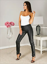 "Women High Waist Black Leather Look Jeans Trousers By Paulo Connerti ""Moon"""