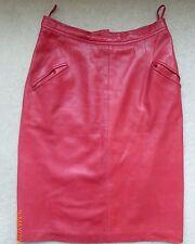 LOEWE Red Stunning Napa Lambskin Soft Luxury Leather Pencil Skirt - UK 10