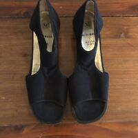 Bruno Magli Womens Shoes Open Peep Toe Slingback Sandal Black Fabric Italian 8.5