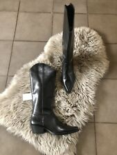 Zara Black Cowboy Heeled Knee High Boots UK6 EU39 US8 #784