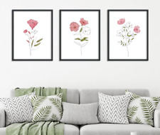Floral Line Art Prints Set of 3x Botanical Wall Decor Pink Watercolour Flowers