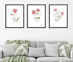 Floral Line Art Prints Set of 3x Botanical Wall Decor Pink Watercolour Flowers