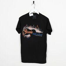 Vintage Novità Grafico Bowie Alto Grande Logo T-Shirt Nero SMALL S