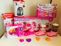 KITCHEN TOYS,MICRO,COFEEE, JUCER,BLENDER,CANDY MAKER ,PINK CLOUR LIGHT AND SOUND