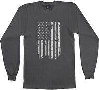 Threadrock Men's White American Flag Long Sleeve T-shirt USA United States