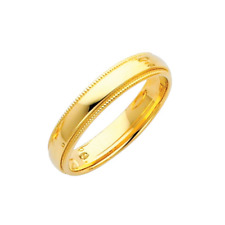 14K Solid Yellow Gold Comfort Fit Milgrain Wedding Band Ring 4mm Size4-12 Men Wm