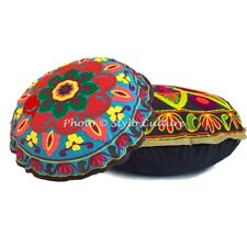 Ethnic Round Boho Floor Cushion Cover Sujani Embroidered 18x18 Cotton Foot Stool