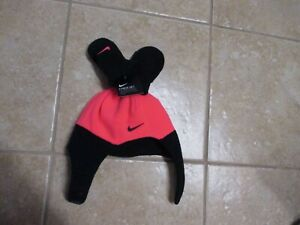 "NIKE ""INFANT"" GIRLS WINTER HAT & MITTEN SET (NWT $25) PINK & BLACK VERY CUTE"
