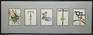 "John D Wibberley Cycle Art - Original ""Framed Post Cards"" Prints 12"" x 32"""