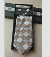 Gift Box Poly/Silk Neck Tie Cufflink & Handkerchief Set Brown & Grey Diamonds