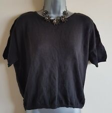 Size 12/14 Top BACSYŃSKA Black Casual Fit Soft Thin Knit Casual Women's