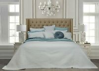 Monet  White 100% Cotton Coverlet Bedspread Bedcover Set - New