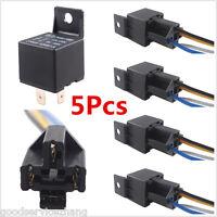 5PCS Car Vehicle Truck Auto 12V 40A 40 A SPST Relay & 5PCS Socket 4Pin 4P 4 Wire