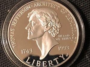 1993-S $1 Proof Thomas Jefferson Commemorative Silver Dollar Coin