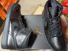 NIKE AIR JORDAN 1 MID BLACK BLACK 554724 030 MENS SHOES SIZE 9 NEW IN BOX