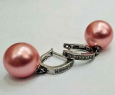Semi Pink Pearls Silver CZ earrings for women for Party Birthday Wedding wear
