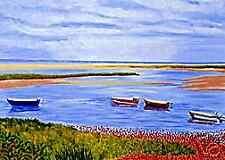 ACEO Print of Original Cape Cod Boats at Beach Painting