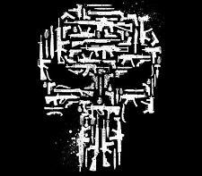 Marvel Punisher Frank Castle Vigilante Gun Grenade Knives Weaponry Skull Shirt