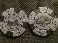 "Harley Davidson Poker Chip (Gray & Black) ""Factory Tour"" York, Pennsylvania"