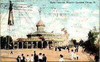 1909  MARINE CAUSEWAY RIVERVIEW EXPOSITION CHICAGO*RIDES*AMERICAN FLAGS*POSTCARD