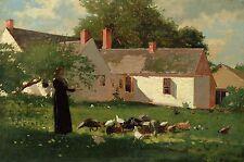 "1874 Winslow Homer, Farmyard scene, Chickens, Americana, 20""x14"" Canvas Wall Art"