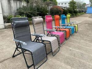 Texteline Garden Outdoor Lounge Folding Beach Chair Recliner Chair Portable