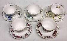 VINTAGE - Lot of (5) bone china Queen Anne cups & saucers - All Different