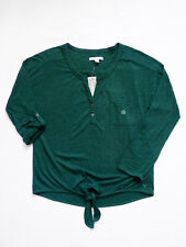 NWT AMERICAN EAGLE Emerald Tie Front Convertible Sleeve Top/Blouse/Shirt Small